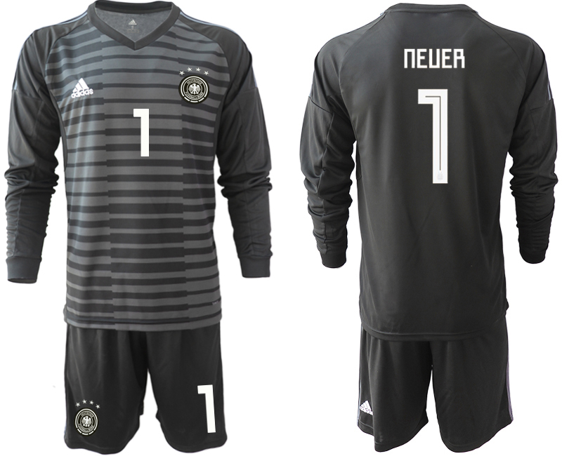 2018-19 Germany 1 NEUER Black Long Sleeve Goalkeeper Soccer Jersey