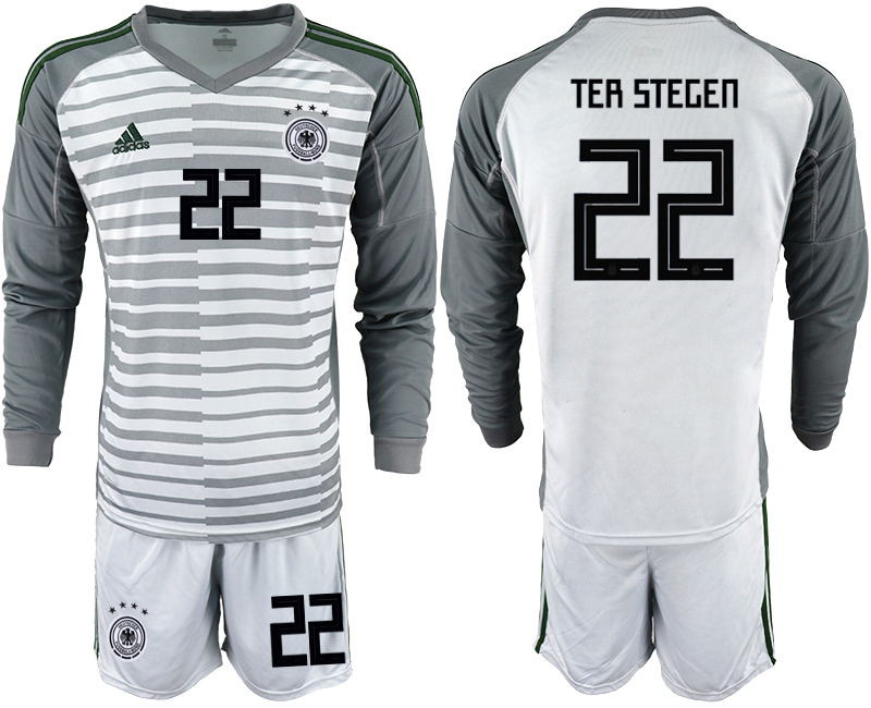 2018-19 Germany 22 TER STEGEN Gray Long Sleeve Goalkeeper Soccer Jersey