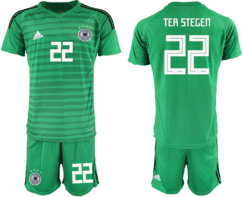 2018-19 Germany 22 TER STEGEN Green Goalkeeper Soccer Jersey
