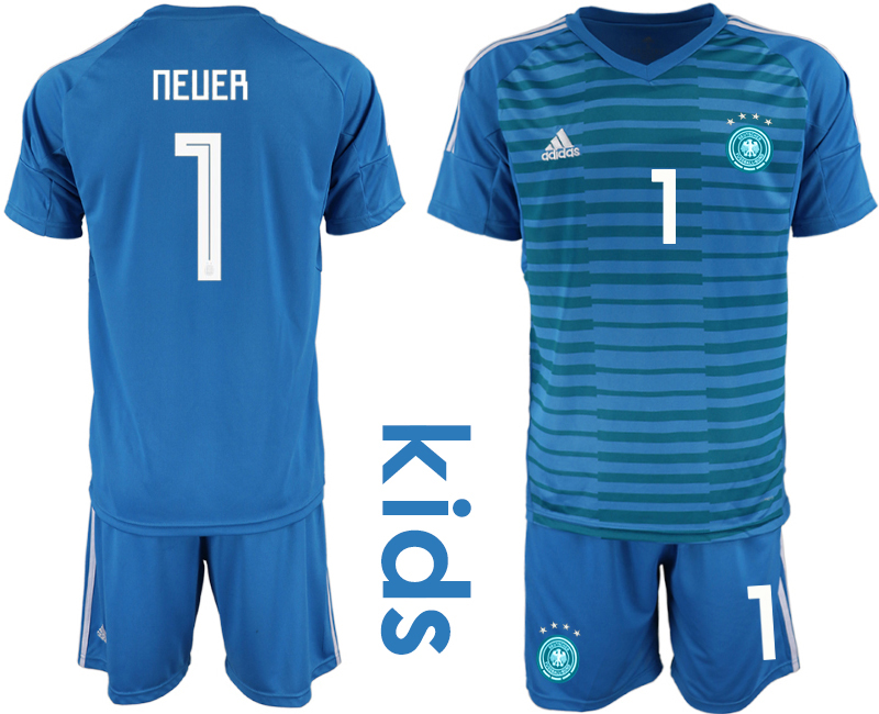 2018-19 Germany 1 NEUER Blue Youth Goalkeeper Soccer Jersey