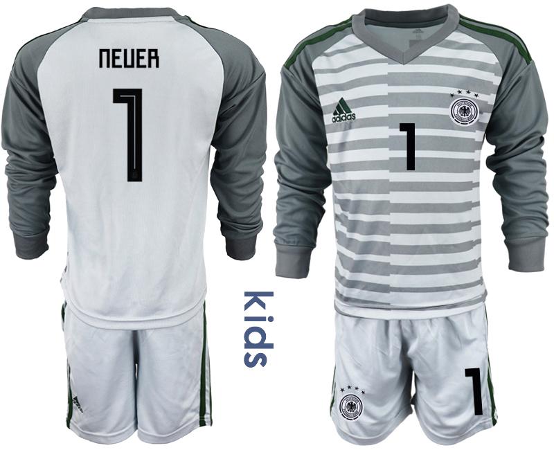 2018-19 Germany 1 NEUER Gray Youth Long Sleeve Goalkeeper Soccer Jersey