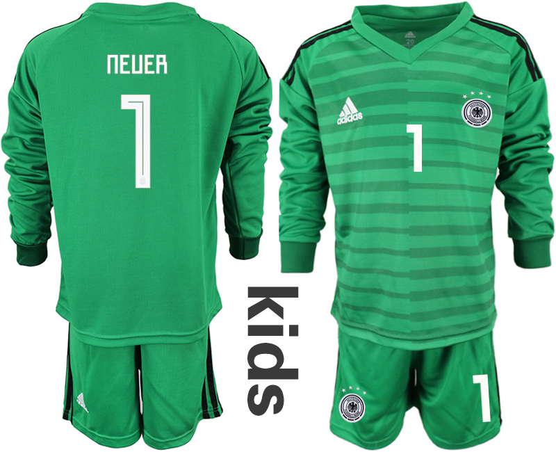 2018-19 Germany 1 NEUER Green Youth Long Sleeve Goalkeeper Soccer Jersey