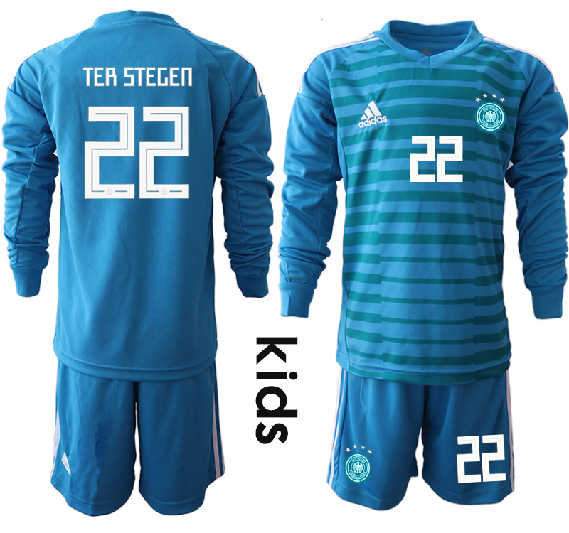 2018-19 Germany 22 TER STEGEN Blue Youth Long Sleeve Goalkeeper Soccer Jersey