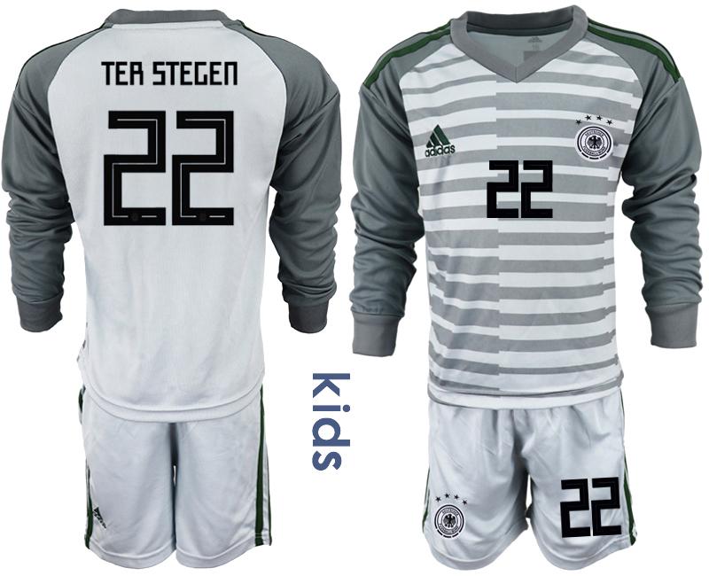 2018-19 Germany 22 TER STEGEN Gray Youth Long Sleeve Goalkeeper Soccer Jersey