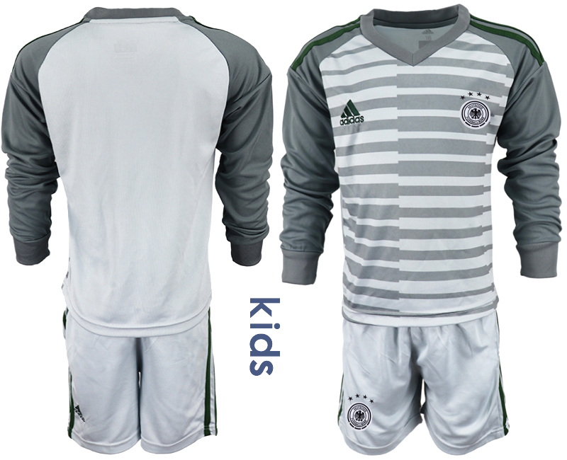 2018-19 Germany Gray Youth Long Sleeve Goalkeeper Soccer Jersey