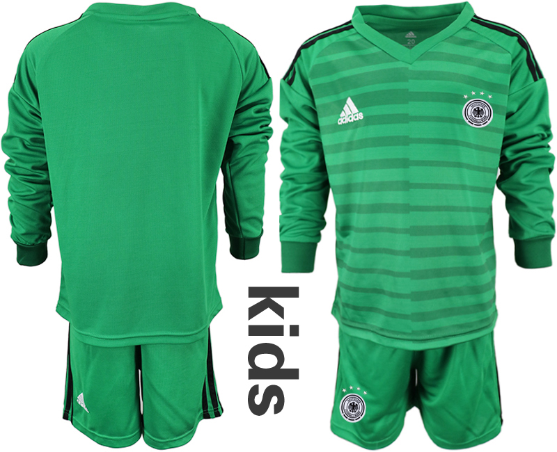2018-19 Germany Green Youth Long Sleeve Goalkeeper Soccer Jersey
