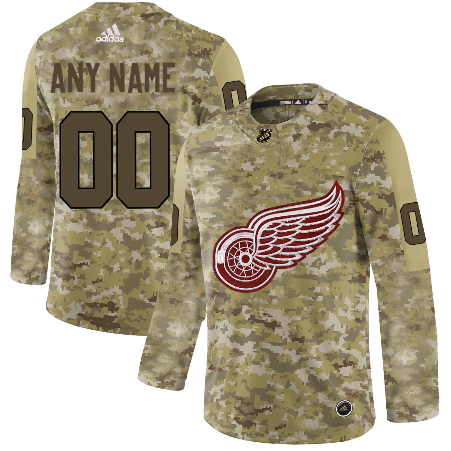 Detroit Red Wings Camo Men's Customized Adidas Jersey