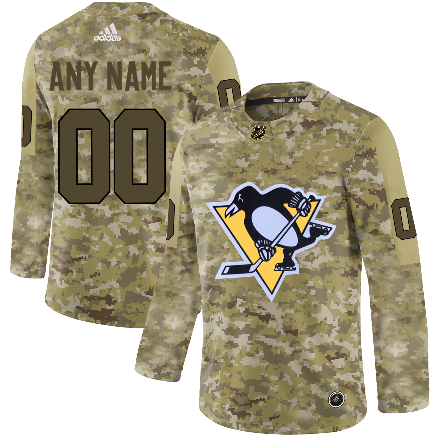 Pittsburgh Penguins Camo Men's Customized Adidas Jersey