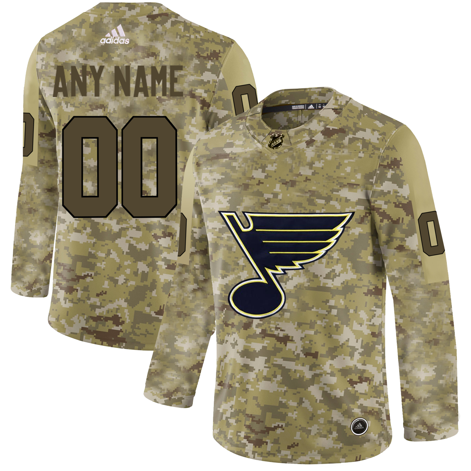 St. Louis Blues Camo Men's Customized Adidas Jersey