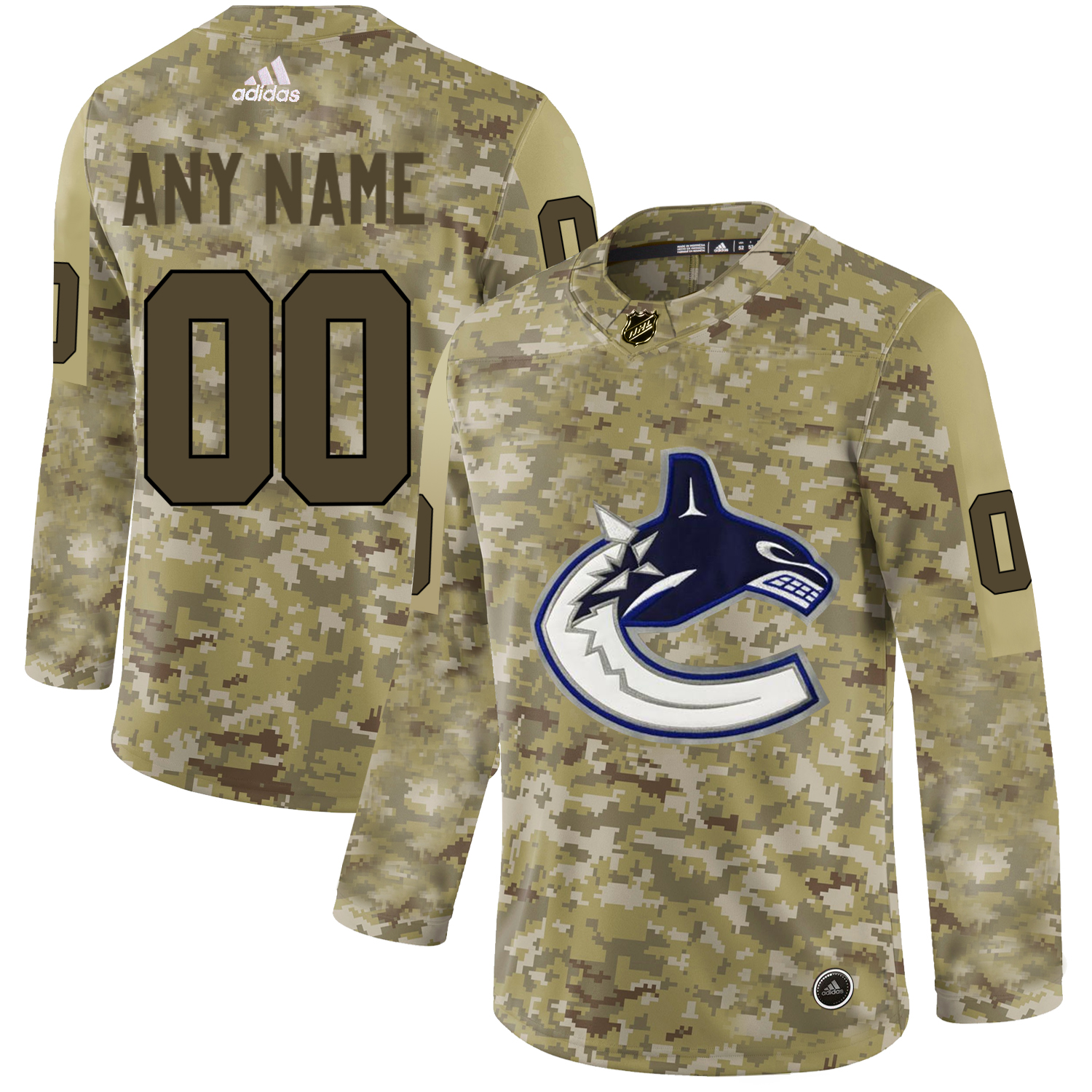 Vancouver Canucks Camo Men's Customized Adidas Jersey