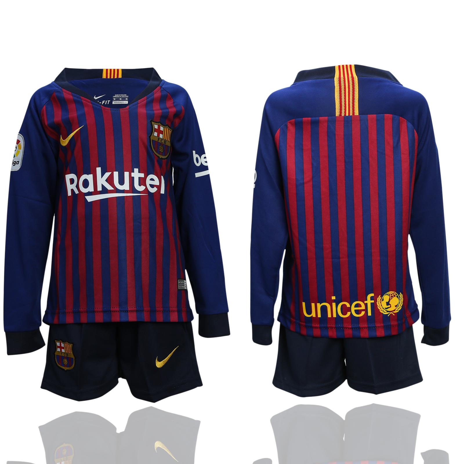2018-19 Barcelona Home Long Sleeve Soccer Jersey