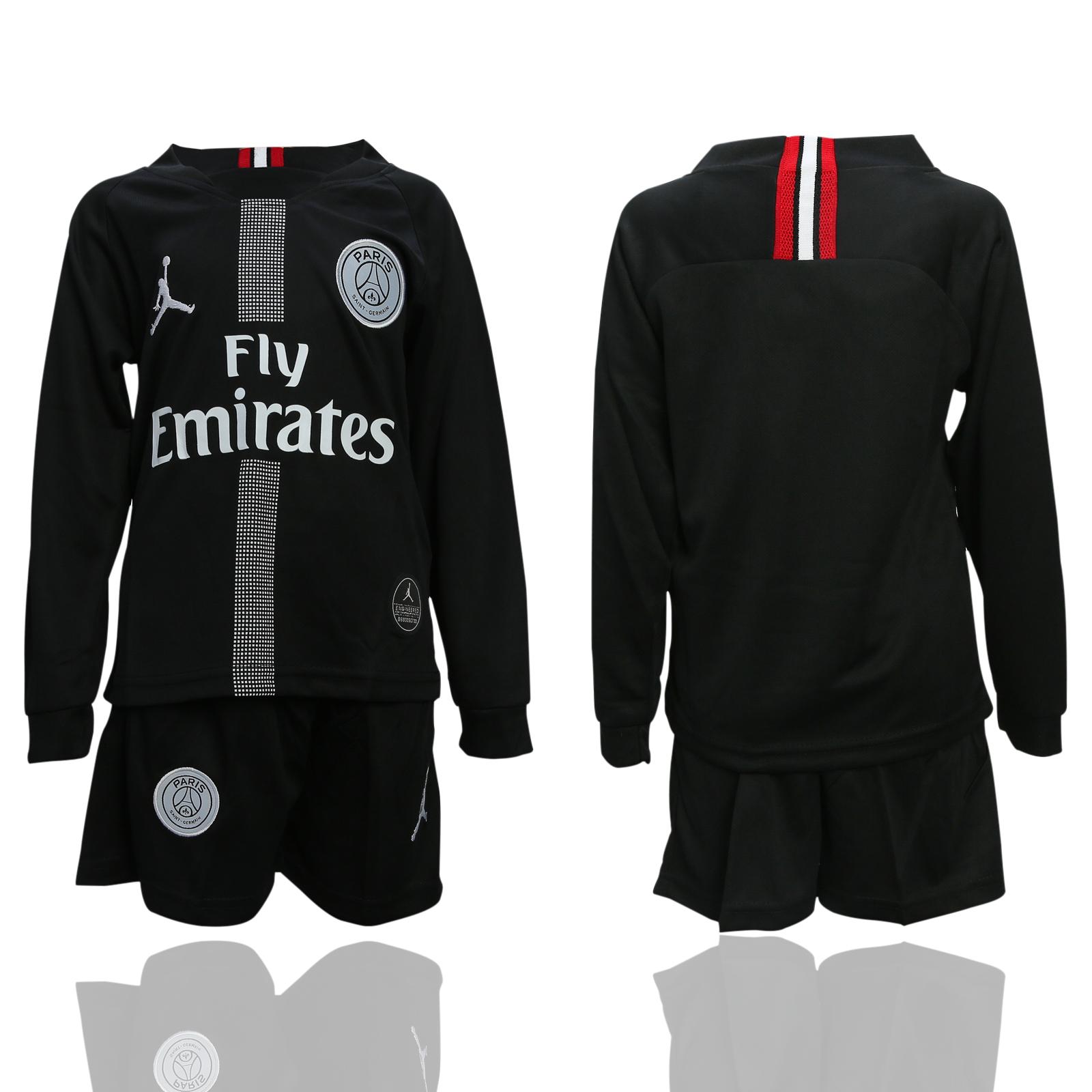 2018-19 Paris Saint-Germain Black Youth Long Sleeve UEFA Champions League Jordan Soccer Jersey