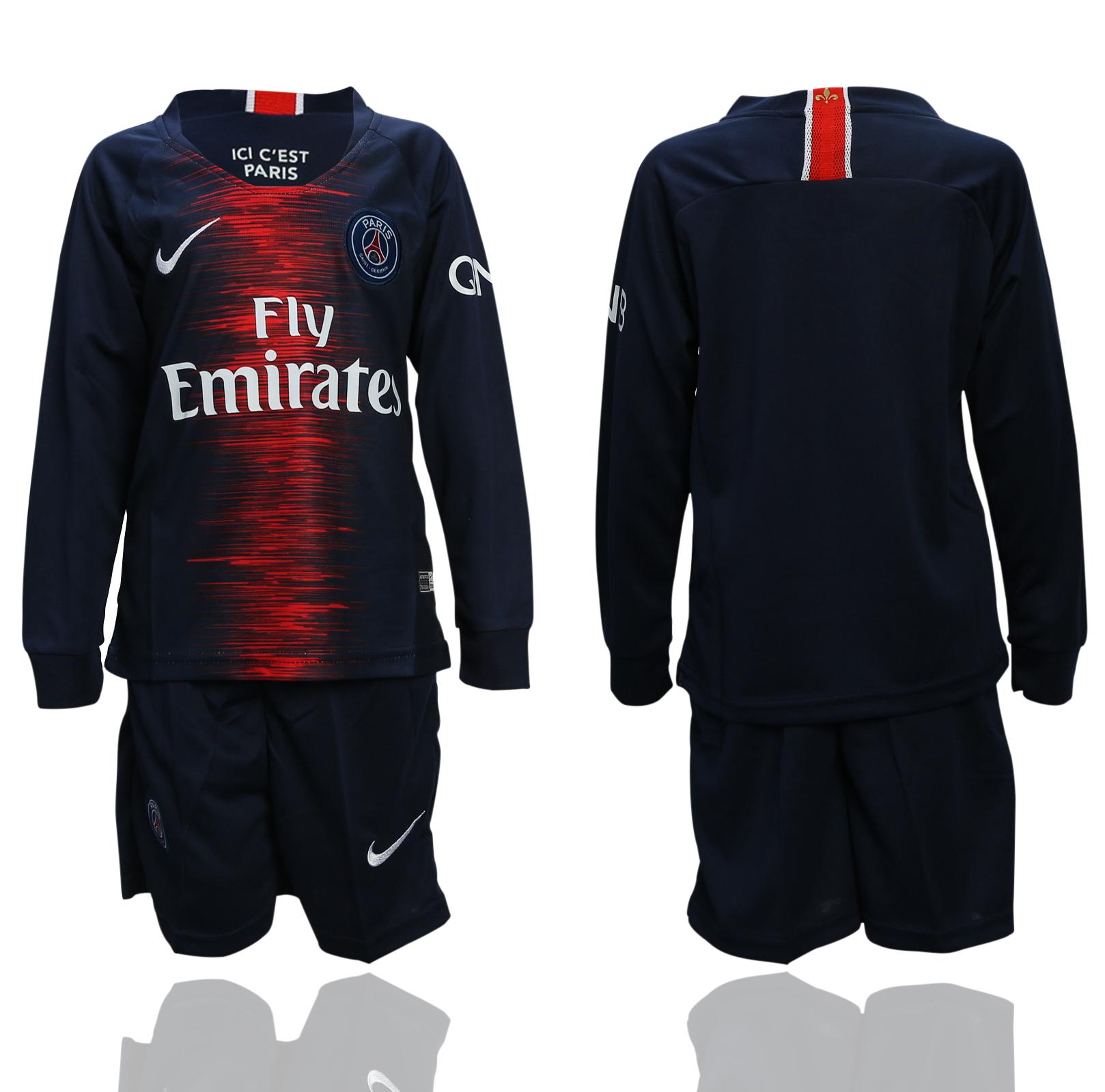 2018-19 Paris Saint-Germain Home Youth Long Sleeve Soccer Jersey