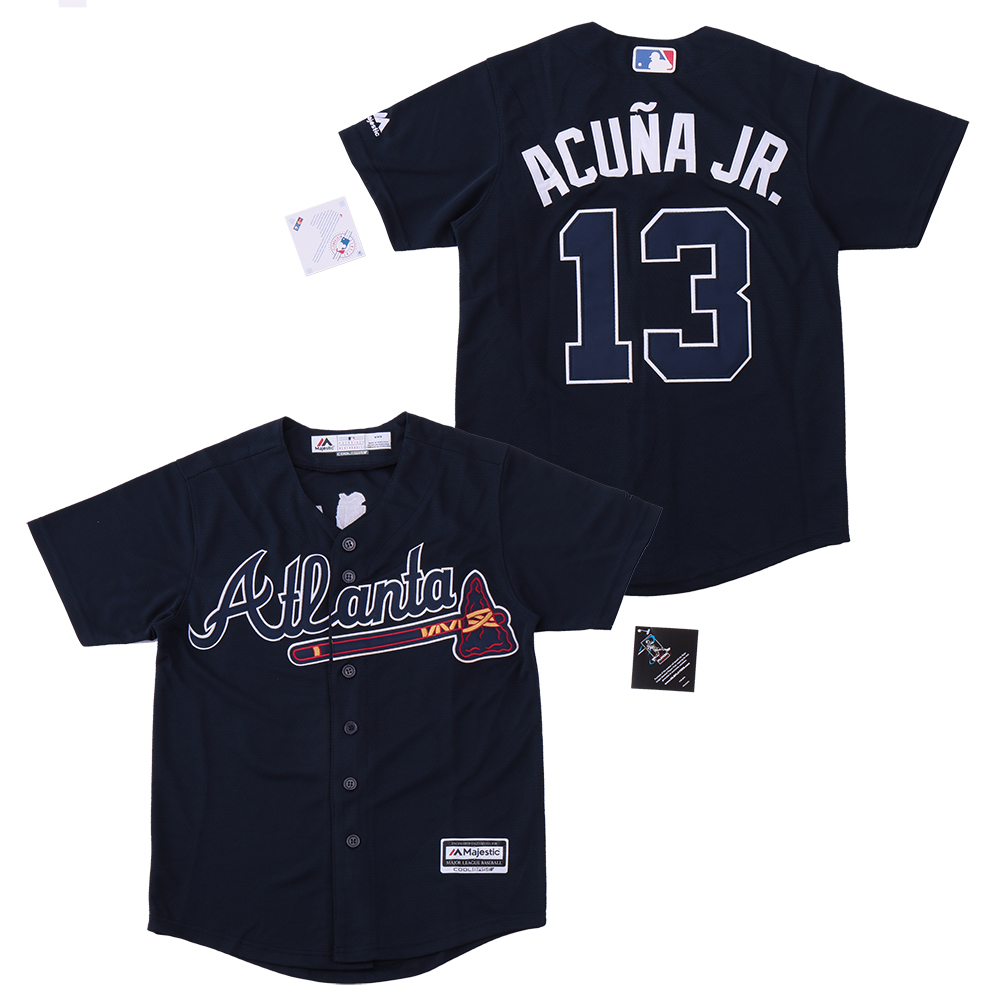 Braves 13 Ronald Acuna Jr. Navy Youth Cool Base Jersey