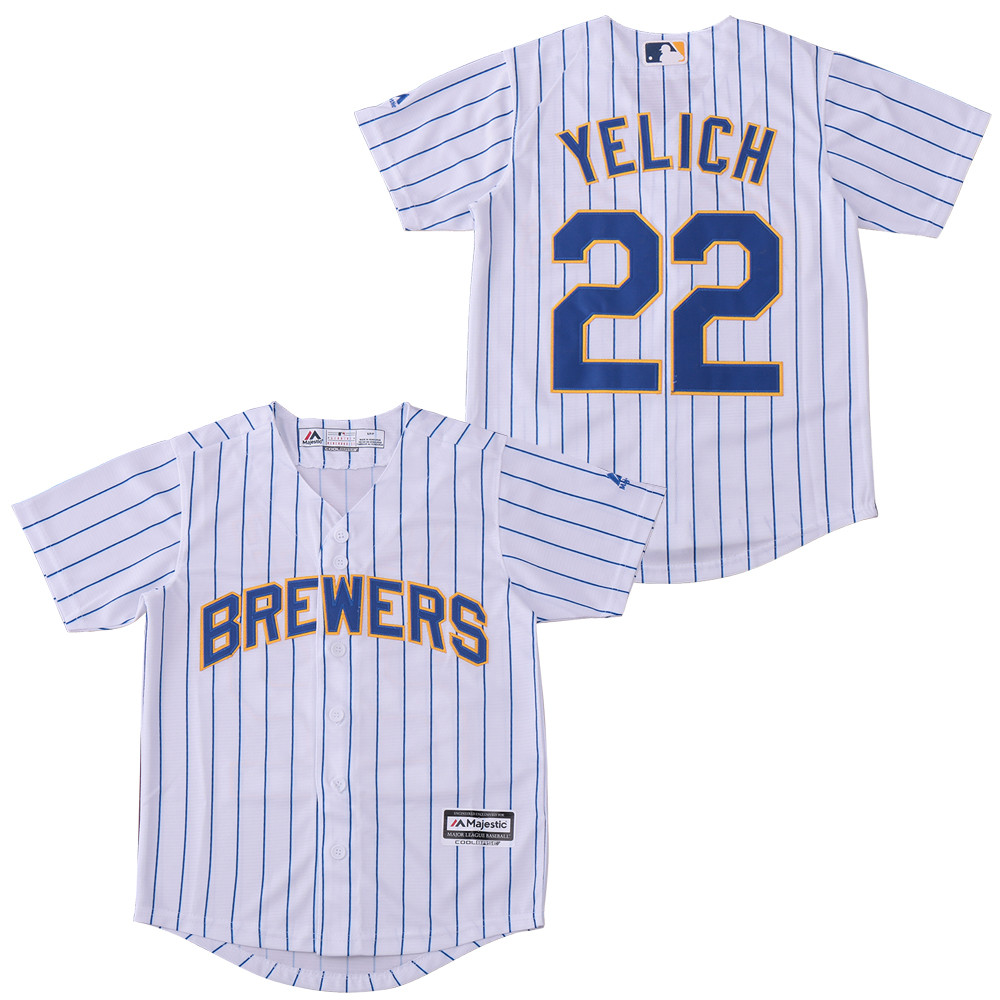 Brewers 22 Christian Yelich White Youth Cool Base Jersey