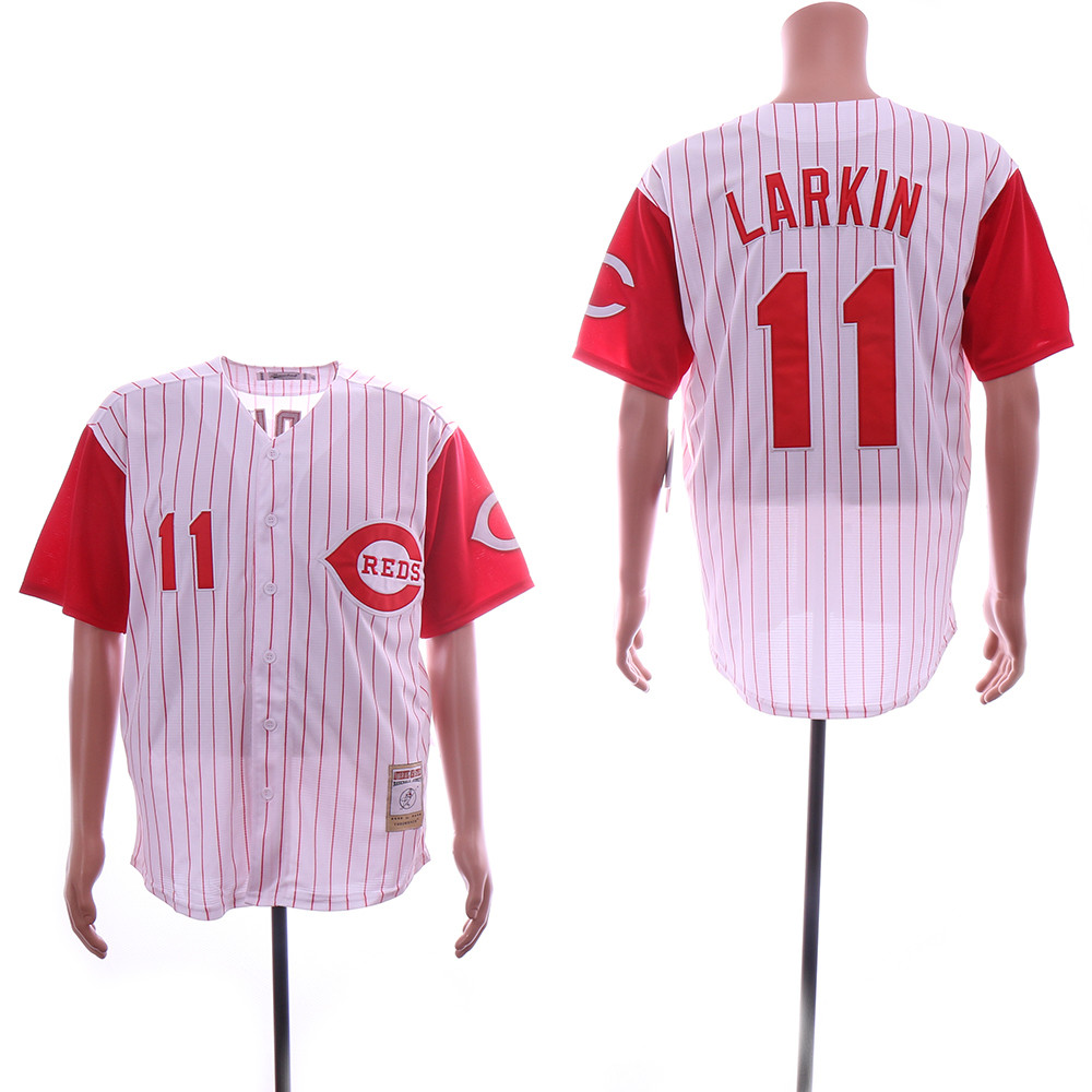 Reds 11 Barry Larkin White Throwback Jersey