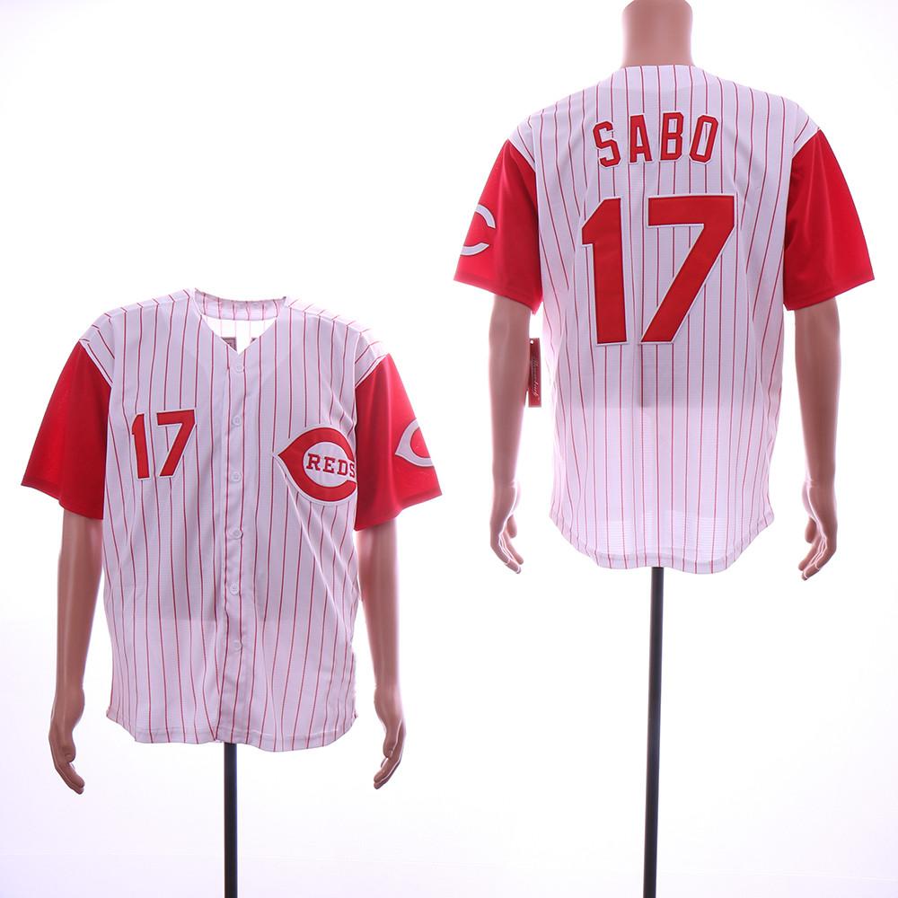 Reds 17 Chris Sabo White Throwback Jersey