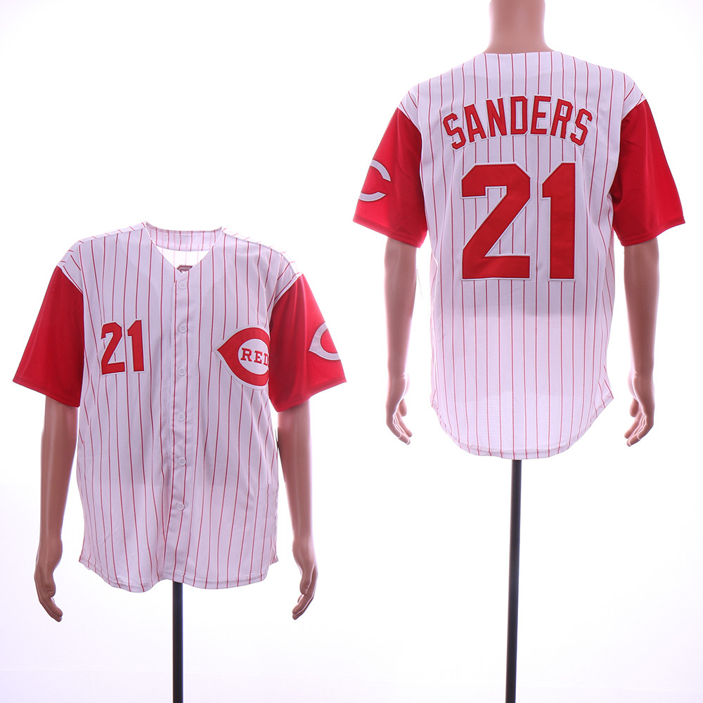 Reds 21 Deion Sanders White Throwback Jersey