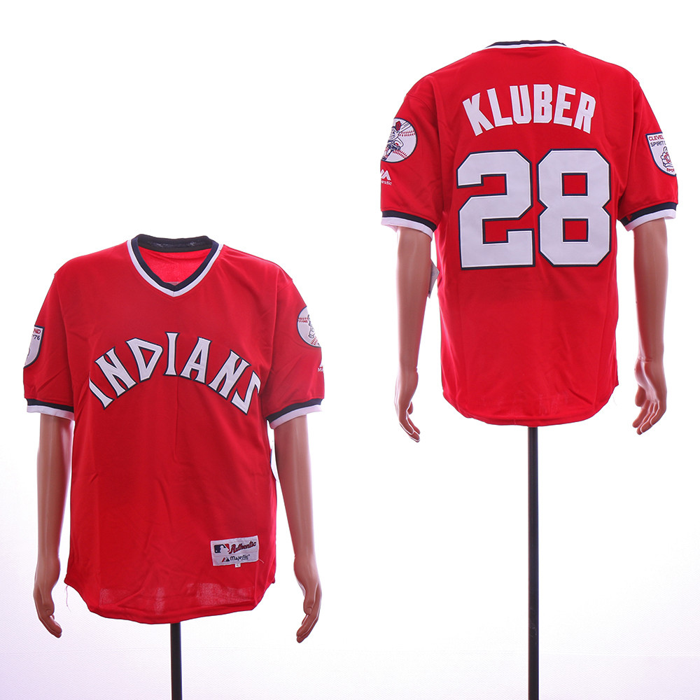Reds 28 Corey Kluber Red Throwback Jersey
