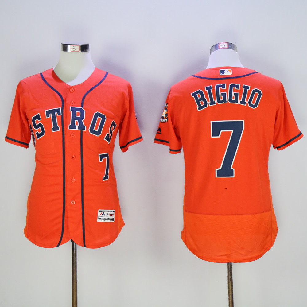Astros 7 Craig Biggio Orange Flexbase Jersey