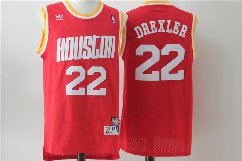 Rockets 22 Clyde Drexler Red Hardwood Classics Jersey