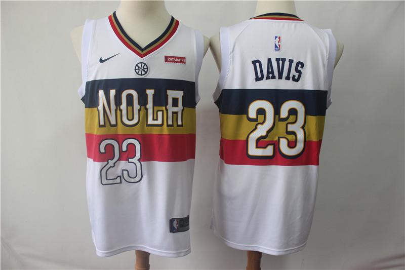 Pelicans 23 Anthony Davis White 2018-19 Earned Edition Nike Swingman Jersey