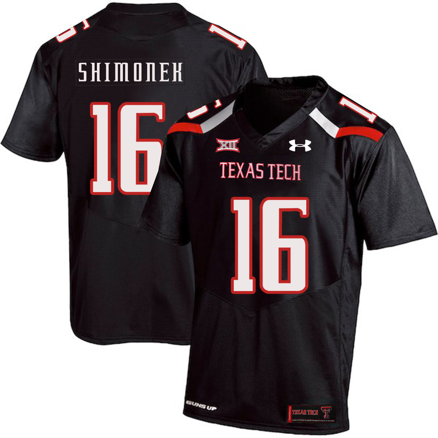 Texas Tech Red Raiders 16 Nic Shimonek Black College Football Jersey