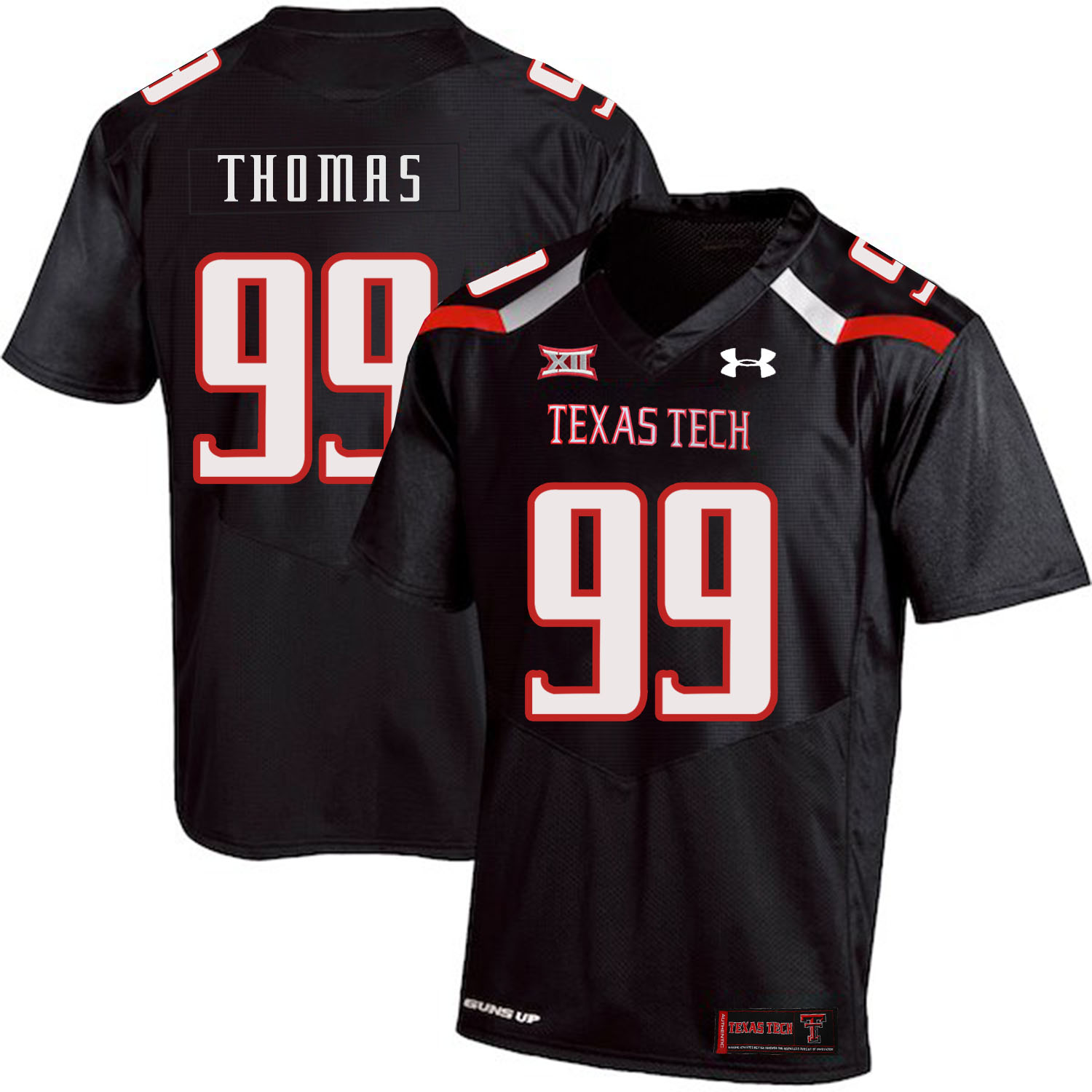 Texas Tech Red Raiders 99 Mychealon Thomas Black College Football Jersey