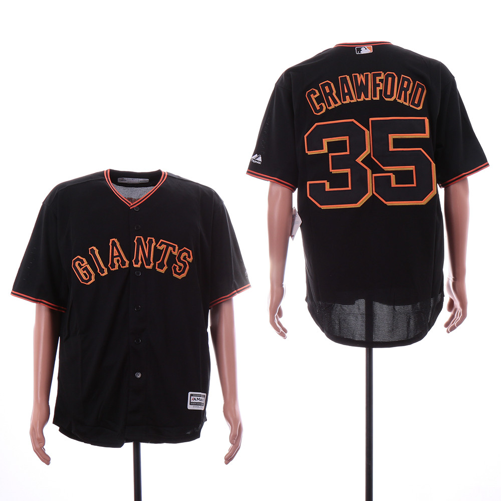 Giants 35 Brandon Carwford Black Cool Base Jersey