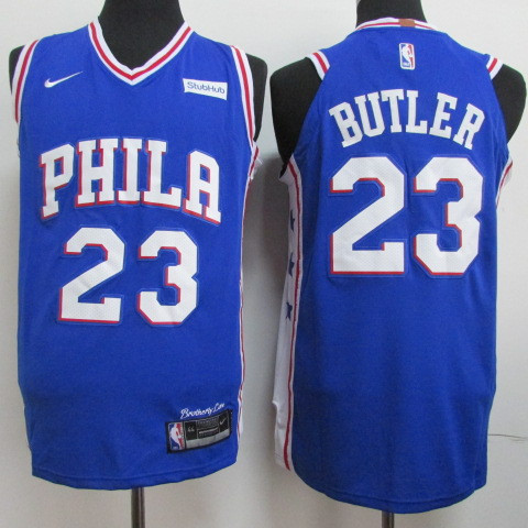 76ers 23 Jimmy Butler Blue Nike Authentic Jersey