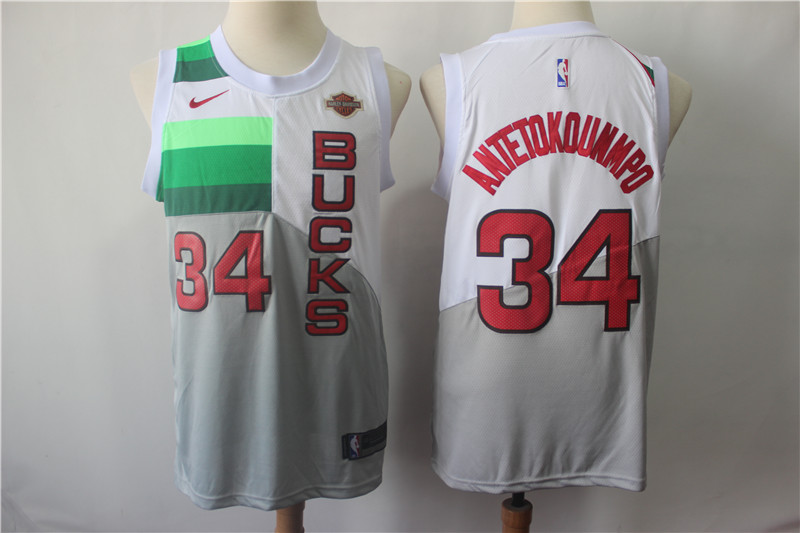 Bucks 34 Giannis Antetokounmpo White 2018-19 Earned Edition Nike Swingman Jersey
