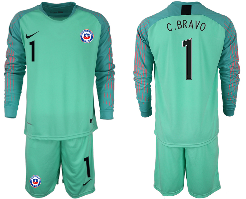 2018-19 Chile 1 C. BRAVO Green Long Sleeve Goalkeeper Soccer Jersey