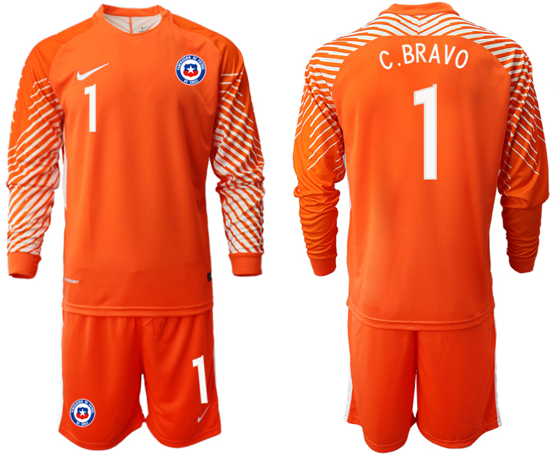 2018-19 Chile 1 C. BRAVO Orange Long Sleeve Goalkeeper Soccer Jersey