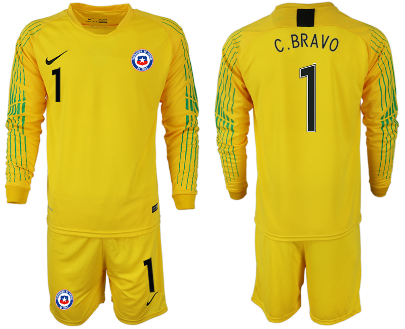 2018-19 Chile 1 C. BRAVO Yellow Long Sleeve Goalkeeper Soccer Jersey