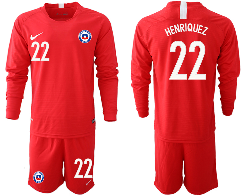 2018-19 Chile 22 HENRIQUEZ Home Long Sleeve Soccer Jersey