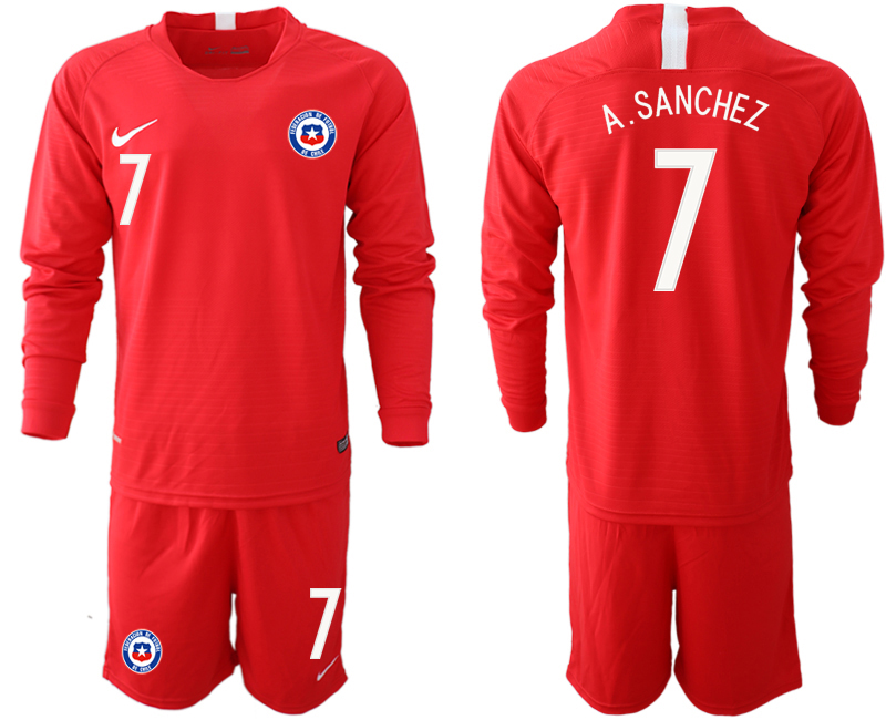 2018-19 Chile 7 A. SANCHEZ Home Long Sleeve Soccer Jersey
