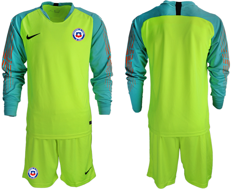 2018-19 Chile Fluorescent Green Long Sleeve Goalkeeper Soccer Jersey