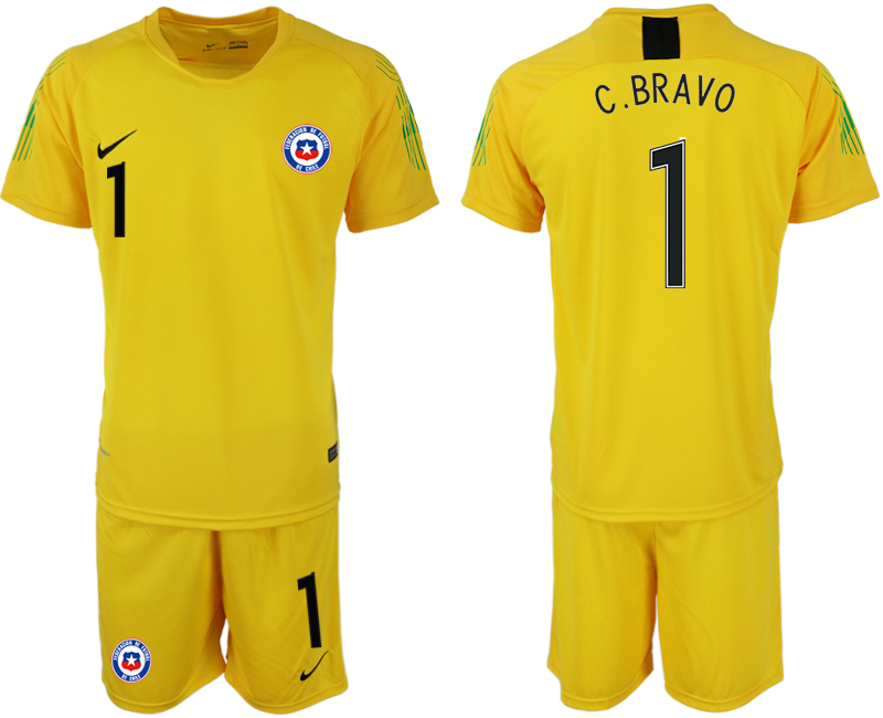 2018-19 Chile 1 C.BRAVO Yellow Goalkeeper Soccer Jersey