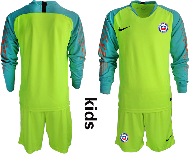 2018-19 Chile Fluorescent Green Youth Long Sleeve Goalkeeper Soccer Jersey