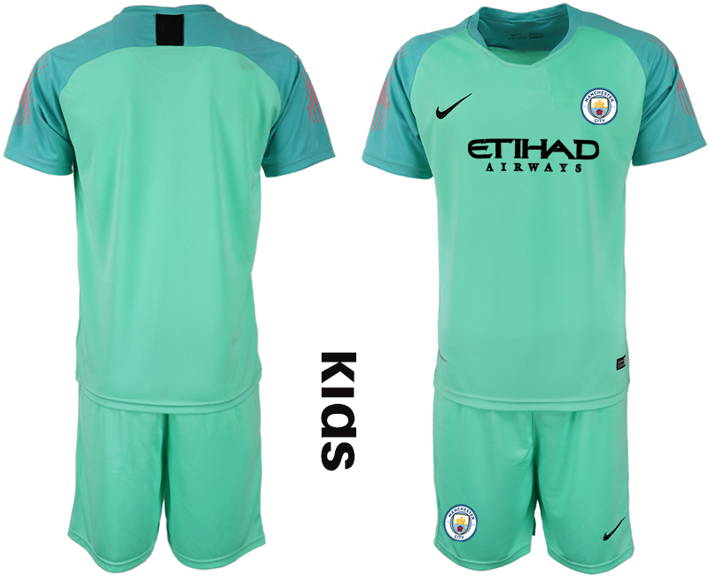 2018-19 Manchester City Green Youth Goalkeeper Soccer Jersey