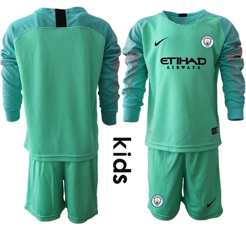 2018-19 Manchester City Green Youth Long Sleeve Goalkeeper Soccer Jersey