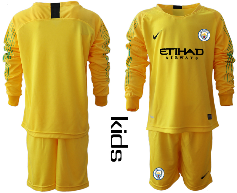 2018-19 Manchester City Yellow Youth Long Sleeve Goalkeeper Soccer Jersey