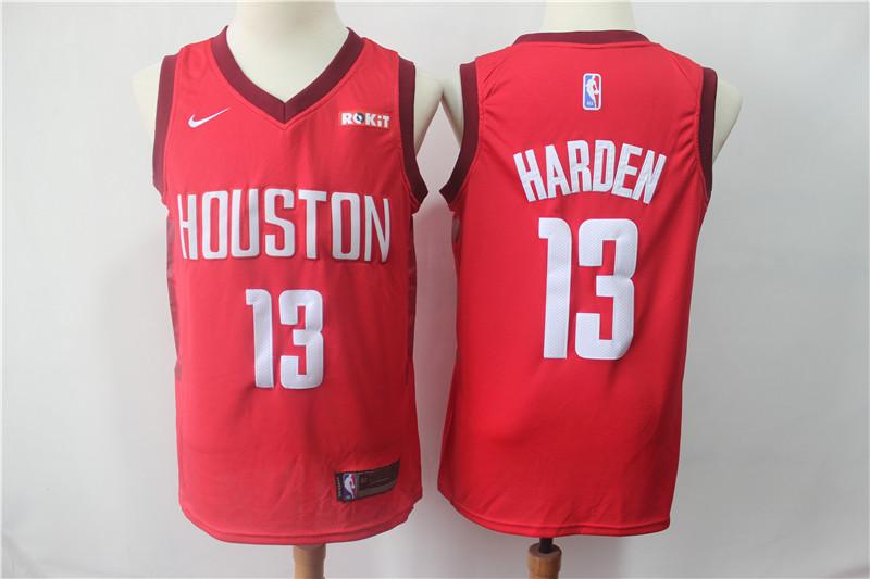 Rockets 13 James Harden Red 2018-19 Earned Edition Nike Swingman Jersey