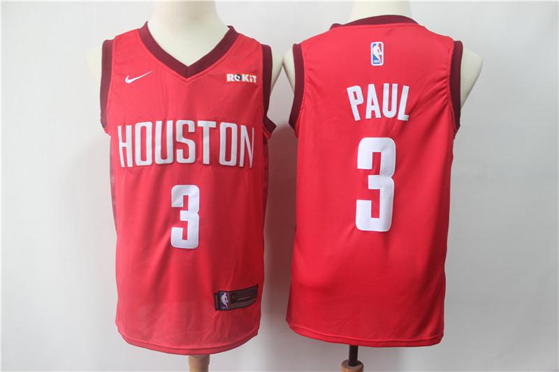 Rockets 3 Chris Paul Red 2018-19 Earned Edition Nike Swingman Jersey