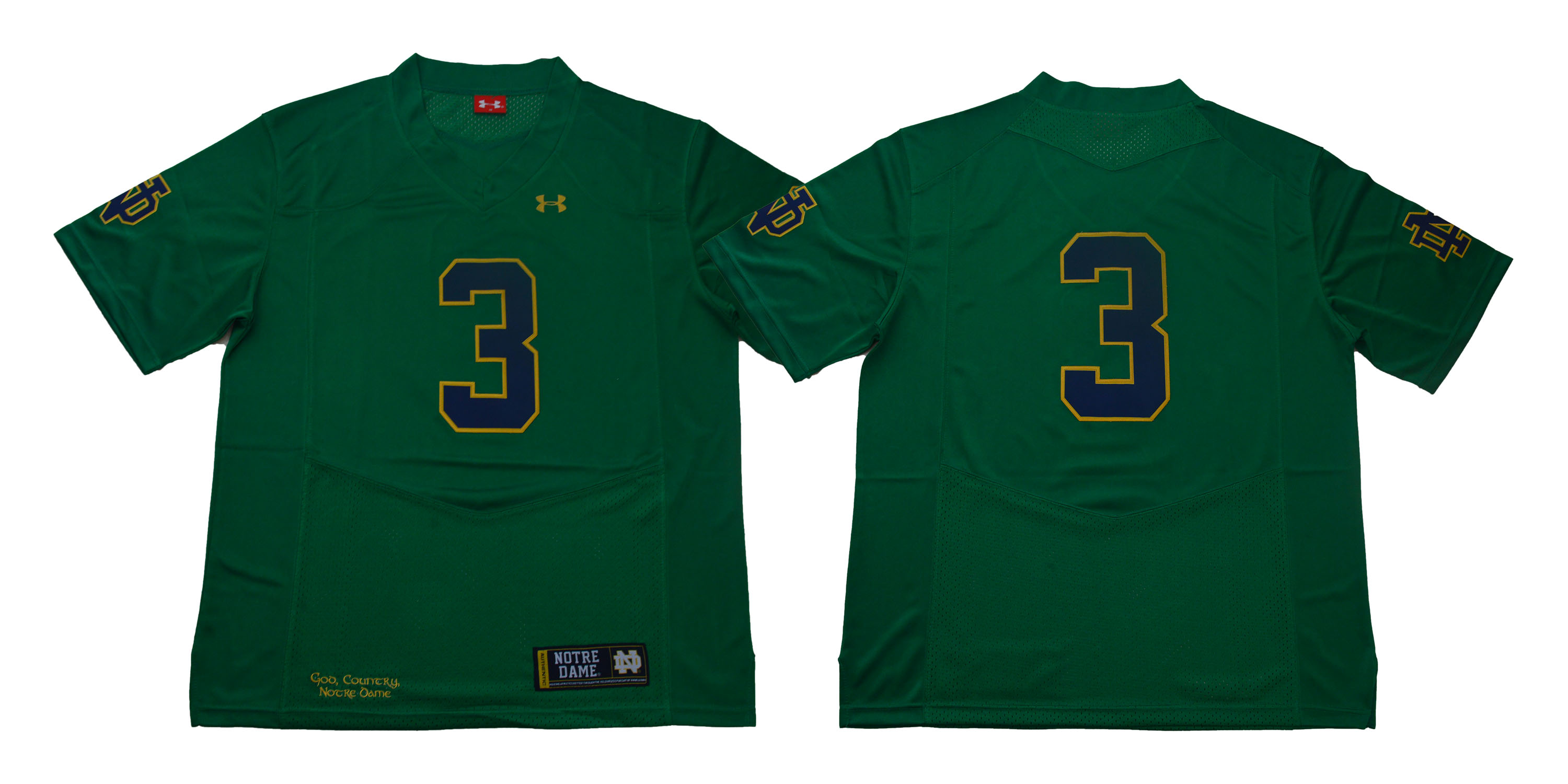 Notre Dame Fighting Irish #3 Green Under Armour College Football Jersey