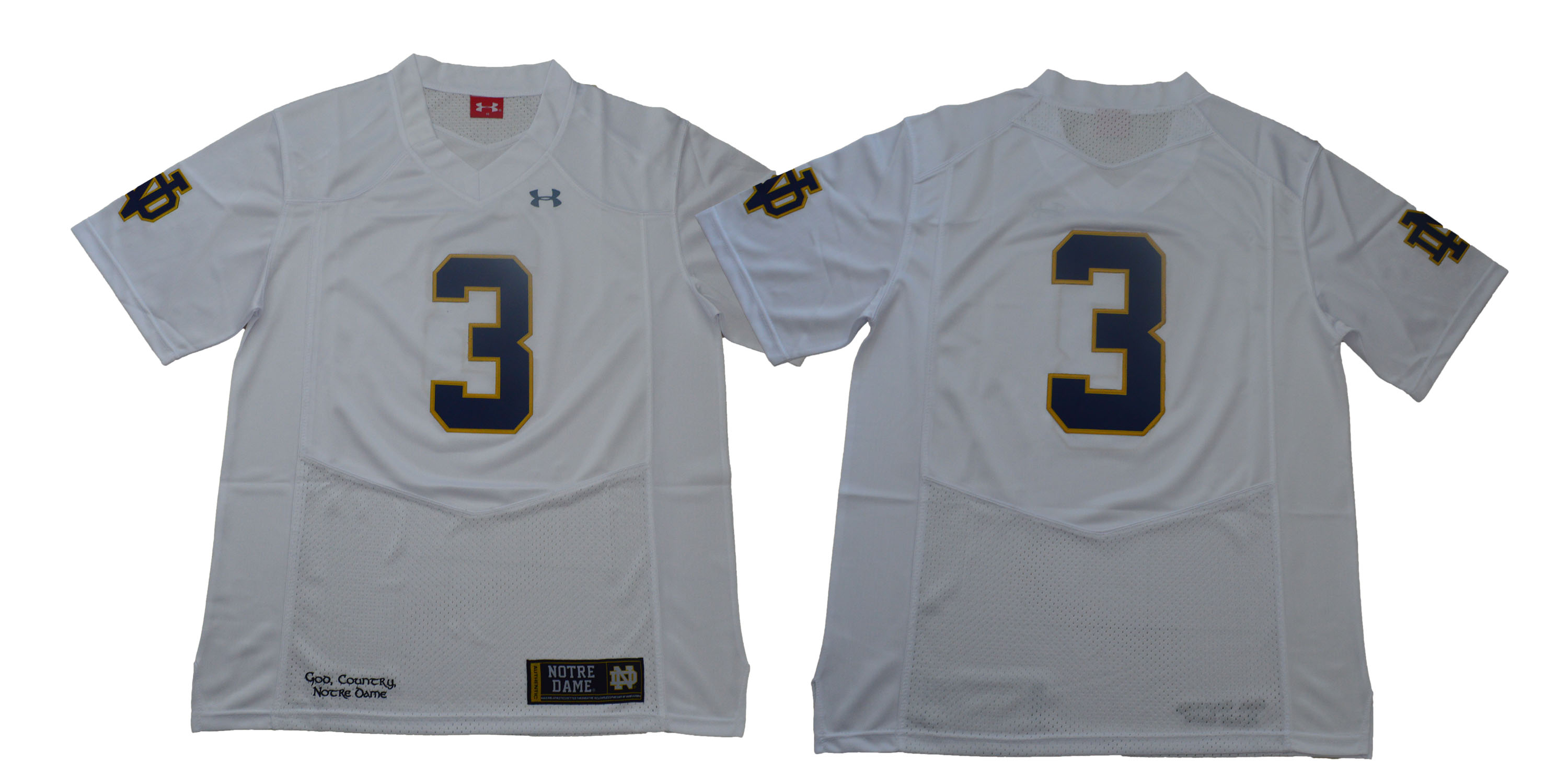 Notre Dame Fighting Irish #3 White Under Armour College Football Jersey