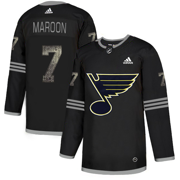 Blues 7 Patrick Maroon Black Shadow Adidas Jersey