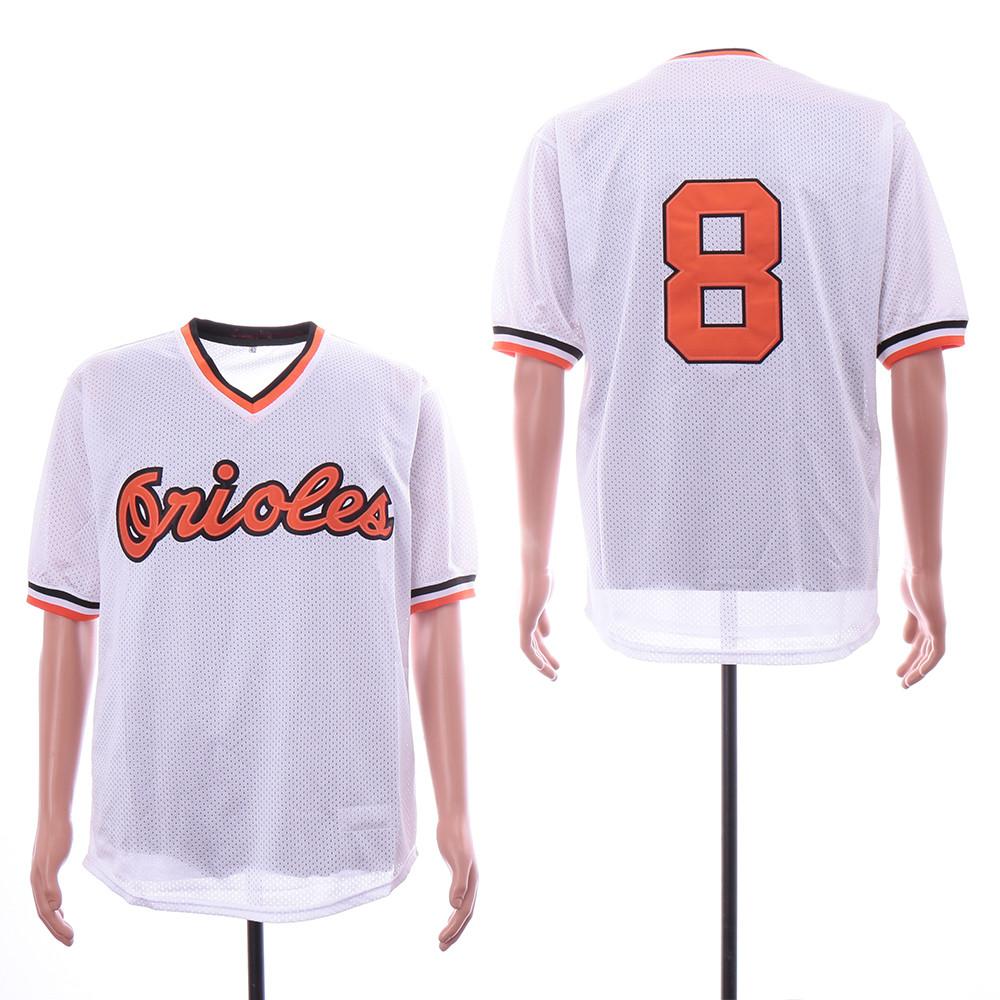 Orioles 8 Cal Ripken Jr White Mesh Throwback Jersey