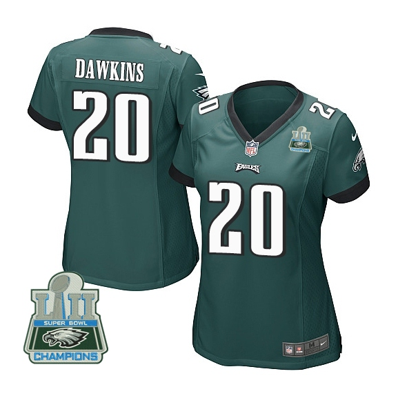 Nike Eagles 20 Brian Dawkins Green Women 2018 Super Bowl Champions Game Jersey