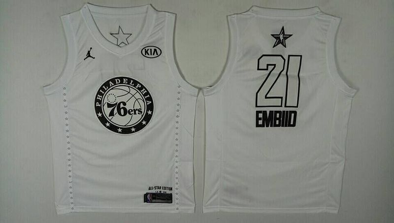 76ers 21 Joel Embiid White 2018 All-Star Game Jordan Brand Authentic Jersey